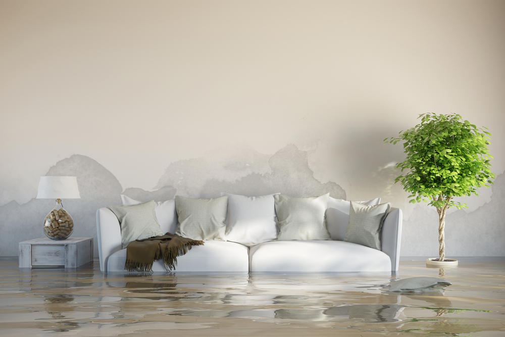 Furniture in a flooded room