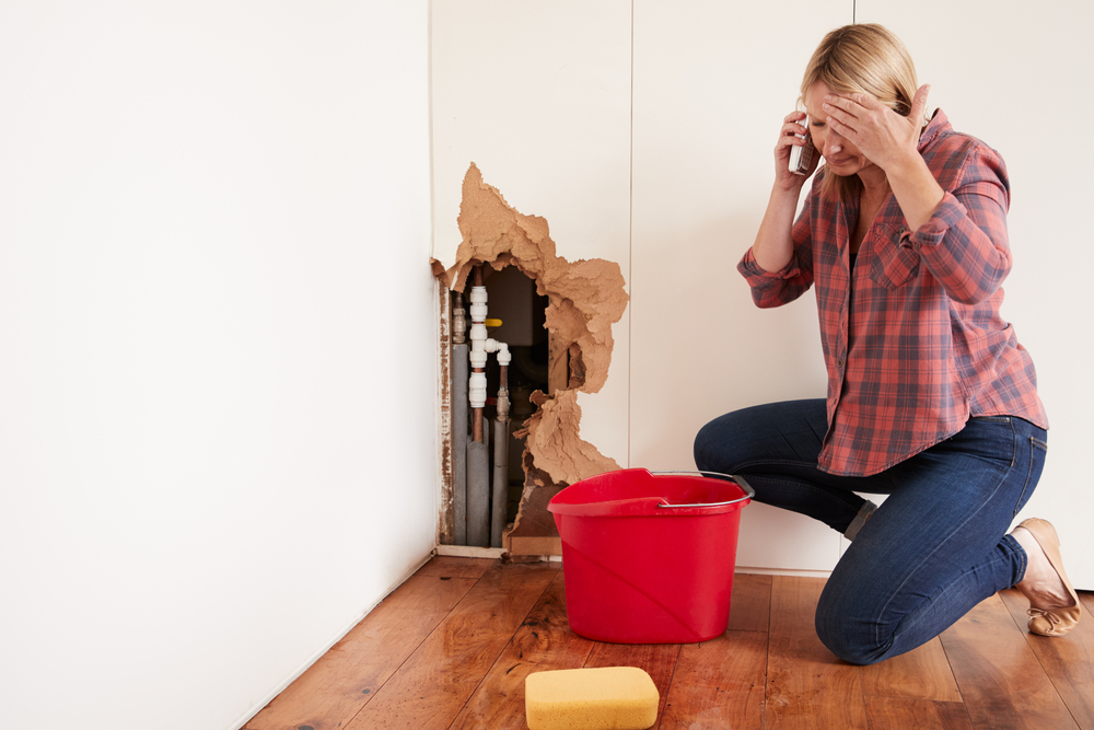 Woman Stressed About Water Damage In Her Home
